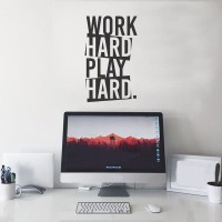 Wall Sticker A4 Quotes Work Hard Play Hard