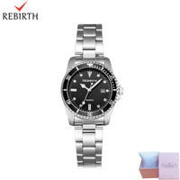 jam tangan Rebirth wanita Santai Mode Tali stainless steel Tahan Air