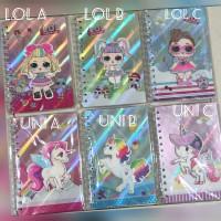 Buku diary ring lol unicorn hologram / notebook lol unicorn