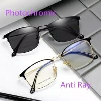 Kacamata Pria Wanita Anti radiasi photocromic Blue Ray Frame bisnis
