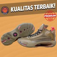 Sepatu Basket Sneakers Nike Air Jordan 34 Bayou Boys Brown Pria