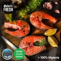 Ikan Salmon Steak Beku Frozen 200gr Kualitas Premium - Ikan Salmon Atl