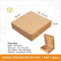 Dus Pizza Box Kotak Packing Karton Corrugated 18x18x5cm - PZ181805