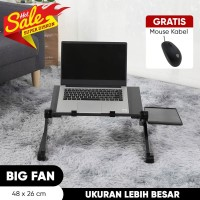 Meja Laptop table portable aluminium + Cooler Fan Gratis Mouse