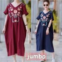 Long Dress Atasan Terusan Fashion Wanita Jumbo big size motif Korea