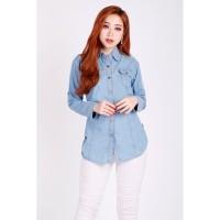 Kemeja Jeans Wanita Kemeja Denim Cewek Modis Lengan Panjang
