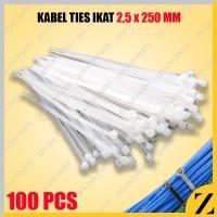 Kabel Tis 25 cm 100 mm Cable Ties Tie Nylon Nilon Besar Putih 100 pcs