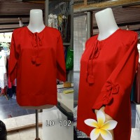 Terbaru blouse Merah motif polos Lengan pita