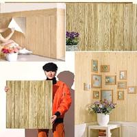 Wallpaper Dinding 3D 70 x 70 cm Foam Serat / Motif Kayu BB - Kayu Orange