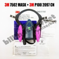 ORIGINAL 3M 7502 Mask Respirator + 3M P100 2097 CN Complete Set