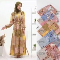 anisa maxi dress/gamis kotak kotal busui/longdress lebaran nyaman