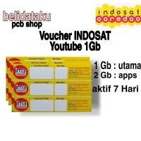 Voucher Paket Data INDOSAT YOUTUBE 1 GB 7hari