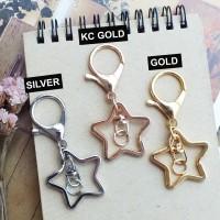 Keychain Ring Bintang + Lobster Clasp (gantungan kunci + kokot udang)