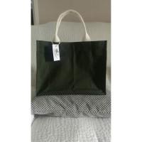 tote bag lily - hijau army - hand made