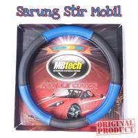 Mbtech Sarung Setir Hitam-Biru B Kulit Mobil PU Leather Steering Cover