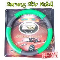 Mbtech Sarung Setir Hitam-Hijau Kulit Mobil PU Leather Steering Cover