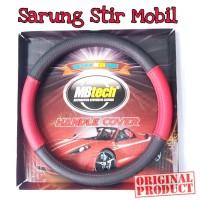Mbtech Sarung Setir Hitam-Merah Kulit Mobil PU Leather Steering Cover