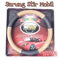 Mbtech Sarung Setir Hitam-Coklat Kulit Mobil PU Leather Steering Cover