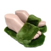 Sandal Slop Wanita Model Bulu - Sandal Rumah Wanita - Hijau