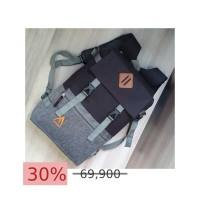 Tas Pria Tas Wanita CVR080 Tas Korea Tas Ransel Tas Backpack - Grey