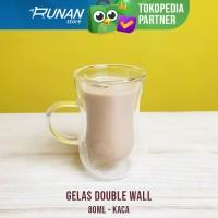 Gelas Double Wall 80ml Anti Panas Gelas Espresso Kopi Shot Glass 80 ml