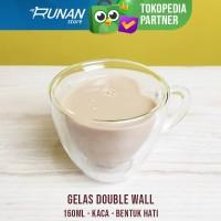 Gelas Double Wall Love 160 ml - Cangkir Kopi Teh Beling 160ml Coffee