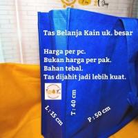 Tas Kantong Kain Belanja Tebal Besar Souvenir Shopping Bag Biru