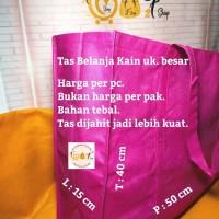Tas Kantong Kain Belanja Tebal Besar Souvenir Shopping Bag Pink Tua