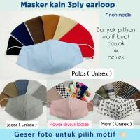 Masker 3 ply earloop / masker kain 3 lapis