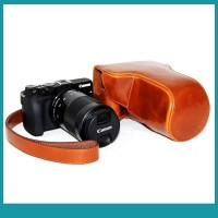Sos PU Leather Camera Bag for Canon EOS M3 1855mm55200mm With