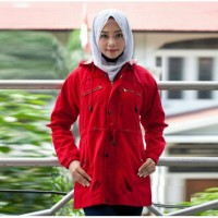 [Ramadhan Sale] COD/Jaket Parka Merah Cabe Cottoon Canvas Wanita