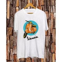Kaos Distro Vespa Putih/T-Shirt Pria/Kaos Keren