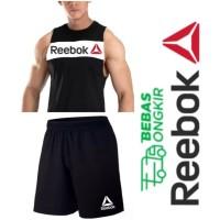 2++ SINGLET COMBI REEBOK + CELANA SPORT kaos gym training running pria