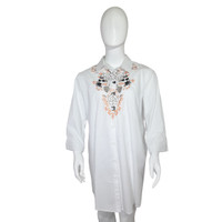 Kemeja Wanita GCND Putih Motif Bunga - White Rose Shirt