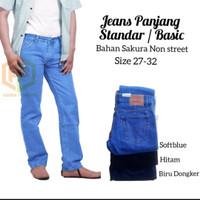 celana Jeans Standar - celana panjang levis basic - jeans cowok - Hitam, 27
