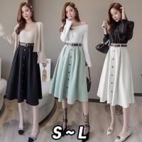 (#9856)Loona Skirt + Belt/Rok autumn/Rok Midi/Rok Kerja/ Midi Skirt