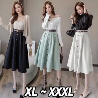 (#9856 BIGSIZE XL/XXL/XXXL)Loona Skirt + Belt/rok dengan ban/Rok kerja
