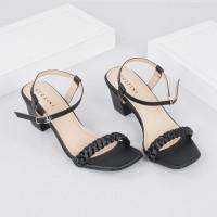 Guzzini ND 754 Hitam - Sandal Heels Tali tumit petak 5cm
