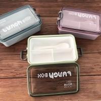 lunch box Kotak makan Bento 3 sekat plus Sendok BPA FREE