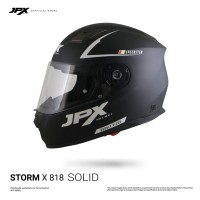 JPX Full Face Storm X818 Solid - Black Doff/Silver