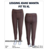 Celana Legging Panjang Wanita Perempuan Ukuran Standar Motif Jeans