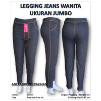 Celana Legging Panjang Big Size Wanita Perempuan Jumbo Motif Jeans