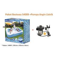 PAKET Bestway 54009 Jumbo Rectangular Family Pool + Pompa Listrik