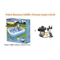 PAKET Bestway 54006 Rectangular Kolam Family Pool + Pompa Listrik
