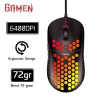 GAMEN GM710 Mouse Gaming Honeycomb 6400 DPI Macro Ultralight Black Ori