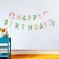 Bunting Flags / Banner Happy Birthday HBD Baby Unicorn