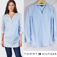 TMH signature striped roll sleeves cotton tunic