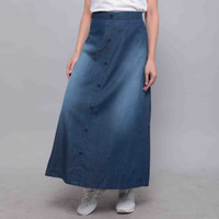 Zlata Aksara Women Rok Panjang Wanita Denim Casual Kerni Jeans 18.06 - Biru, L