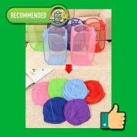 Keranjang Baju Kotor Lipat Polos Warna Warni Laundry Cucian Jaring