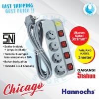 Hannochs CHICAGO HSC 074 Stop Kontak 4 Lubang + Saklar Lampu Kabel 3M